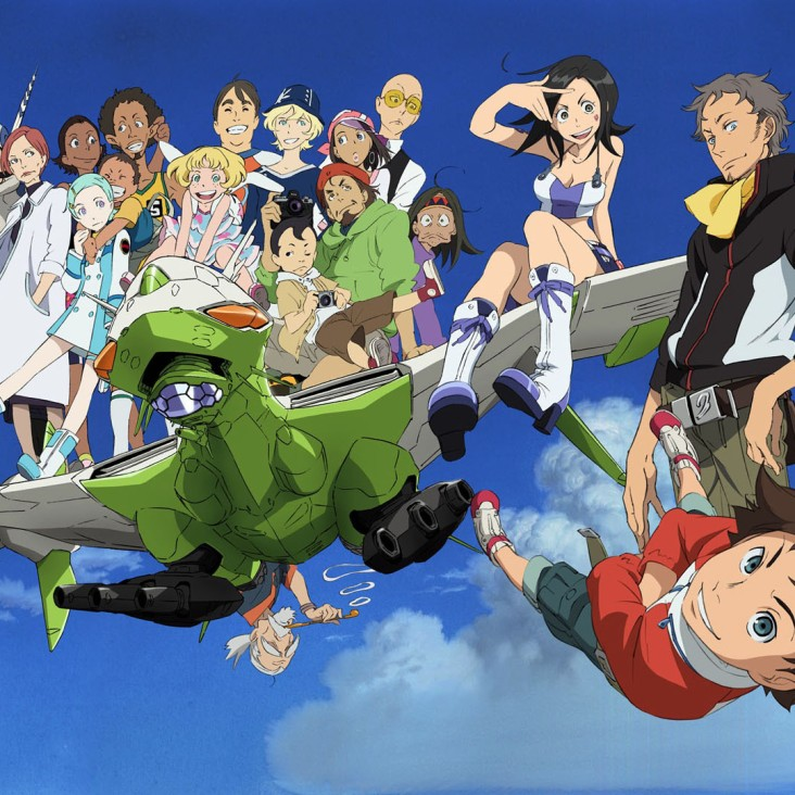 Renton (bottom, far right) and the Cast of Eureka Seven Adult Swim on Cartoon Network / Turner