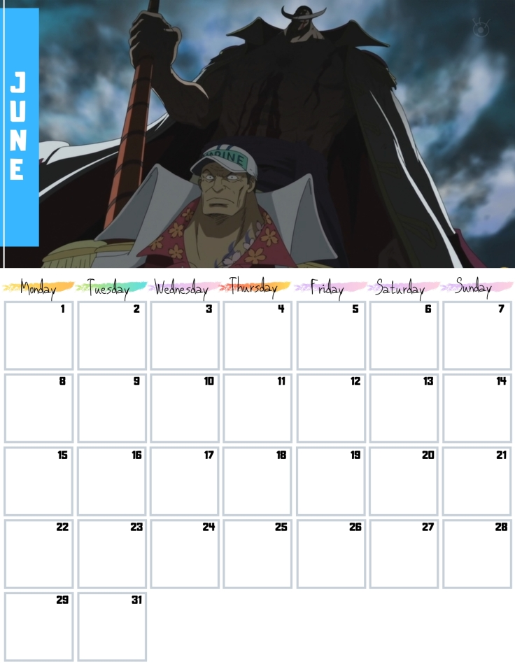 06 June Free One Piece Calendar 2020 AllAnimeMag
