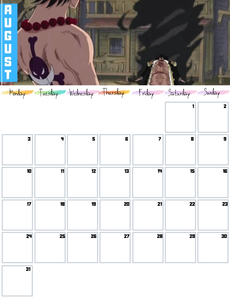 08 Aug Free One Piece Calendar 2020 AllAnimeMag