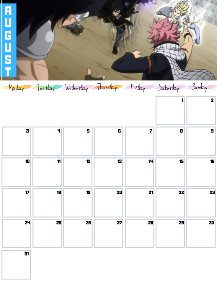 08 August Fairy Tail Free 2020 Downloadable Calendar AllANimeMag (8)
