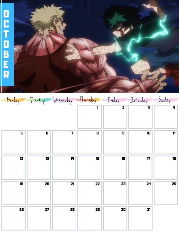 10 Oct Free my hero academia Calendar 2020 AllAnimeMag