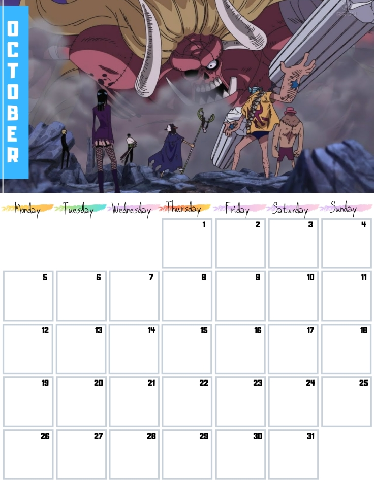 10 Oct Free One Piece Calendar 2020 AllAnimeMag