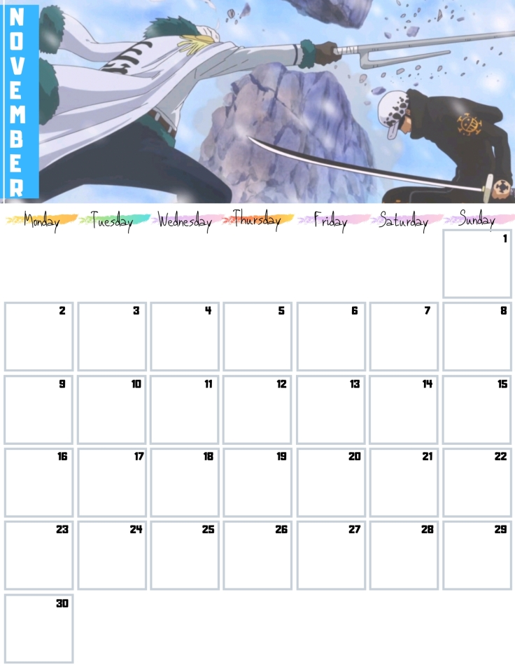 11 Nov Free One Piece Calendar 2020 AllAnimeMag