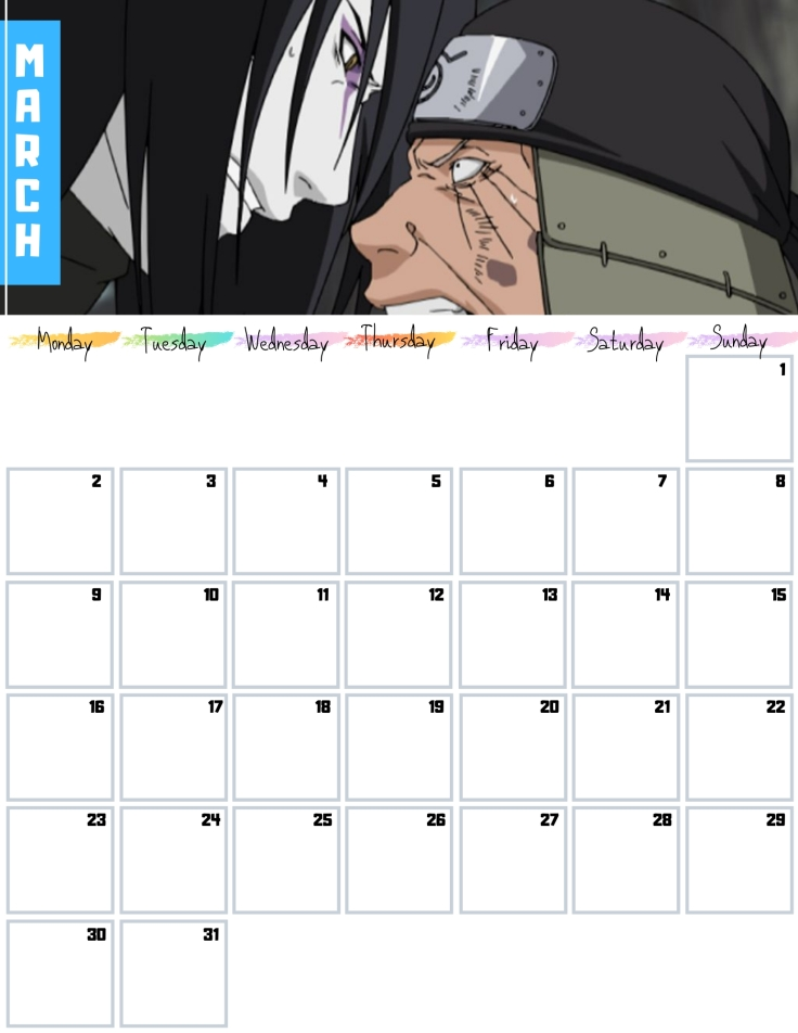 03 March Free Naruto Calendar 2020 AllAnimeMag
