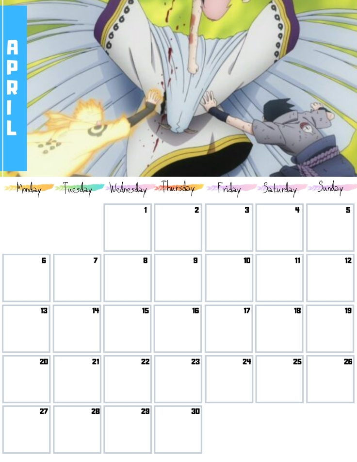 04 April Free Naruto Calendar 2020 AllAnimeMag