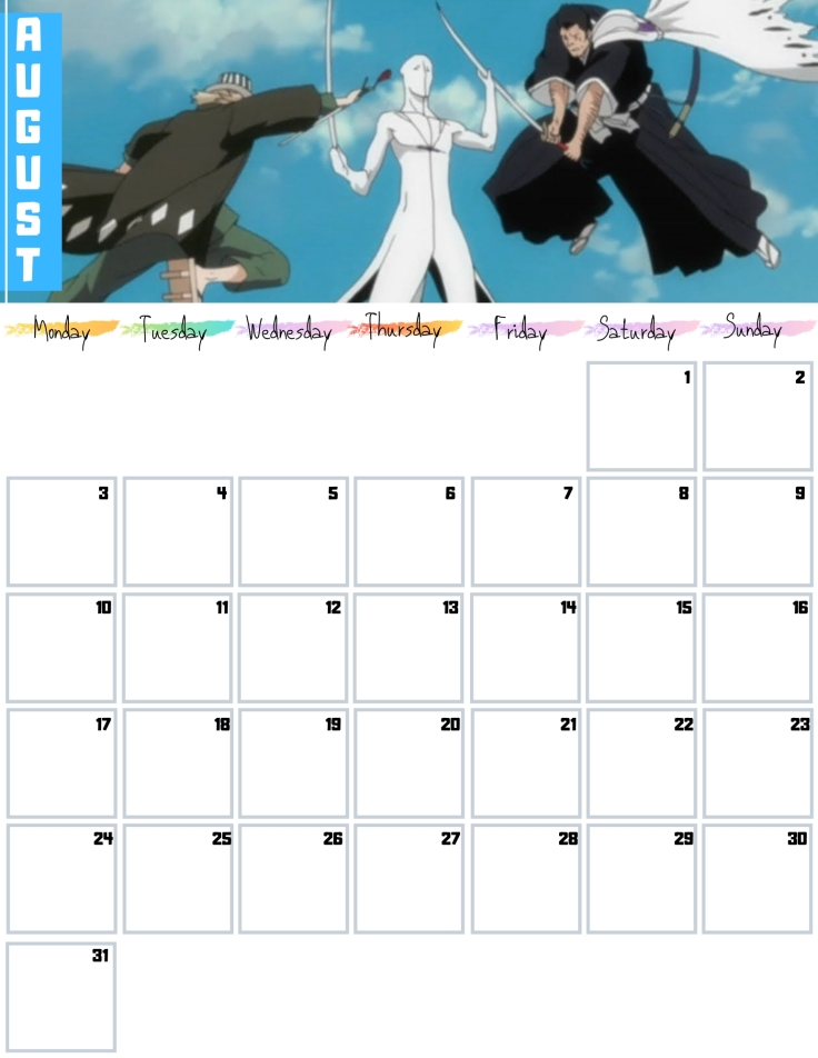08 August Free Bleach anime Calendar 2020 AllAnimeMag