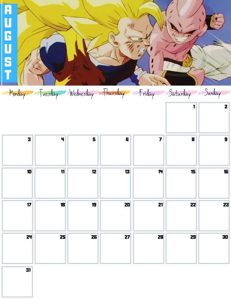 08 August Free Dragon Ball Calendar 2020 AllAnimeMag