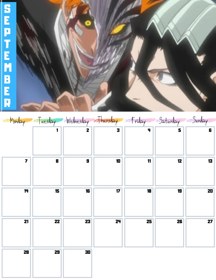09 September Free Bleach anime Calendar 2020 AllAnimeMag