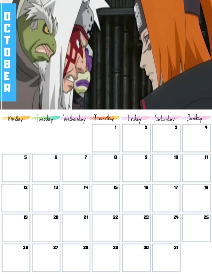 10 Oct Free Naruto Calendar 2020 AllAnimeMag