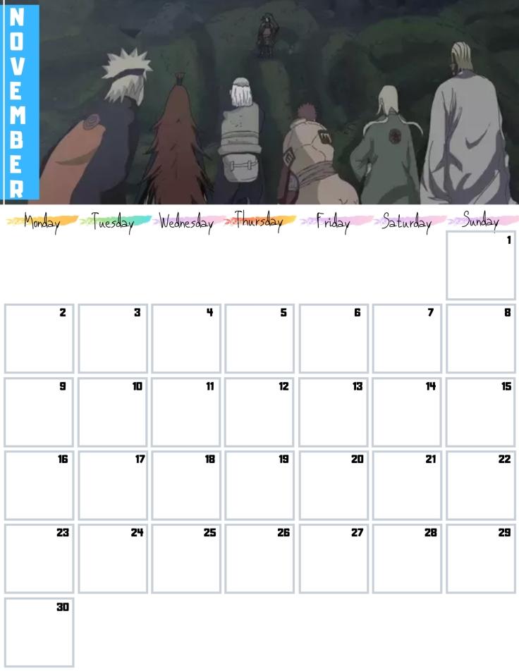 11 Nov Free Naruto Calendar 2020 AllAnimeMag