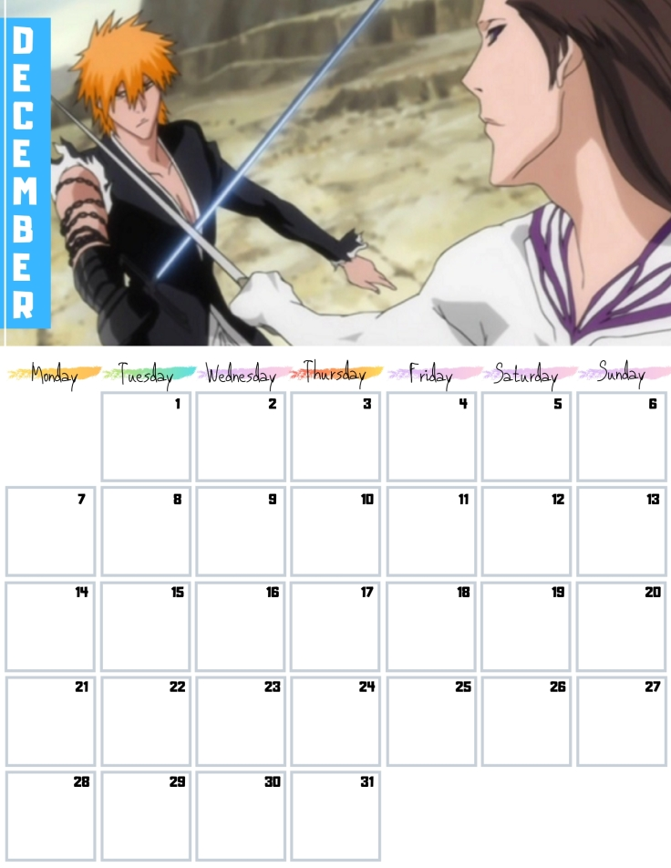 12 December Free Bleach anime Calendar 2020 AllAnimeMag