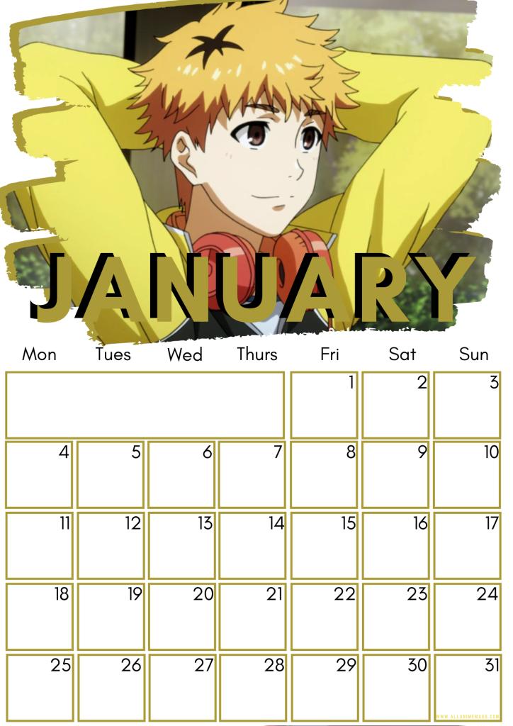 01 January Tokyo Ghoul Free Downloadable Anime Calendar 2021 AllAnimeMag