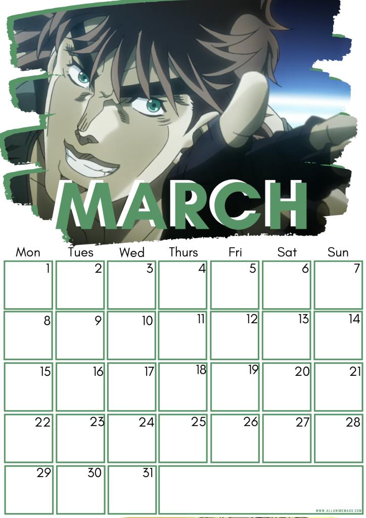 03 March JoJo's Bizarre Adventure Free Downloadable Anime Calendar 2021 AllAnimeMag