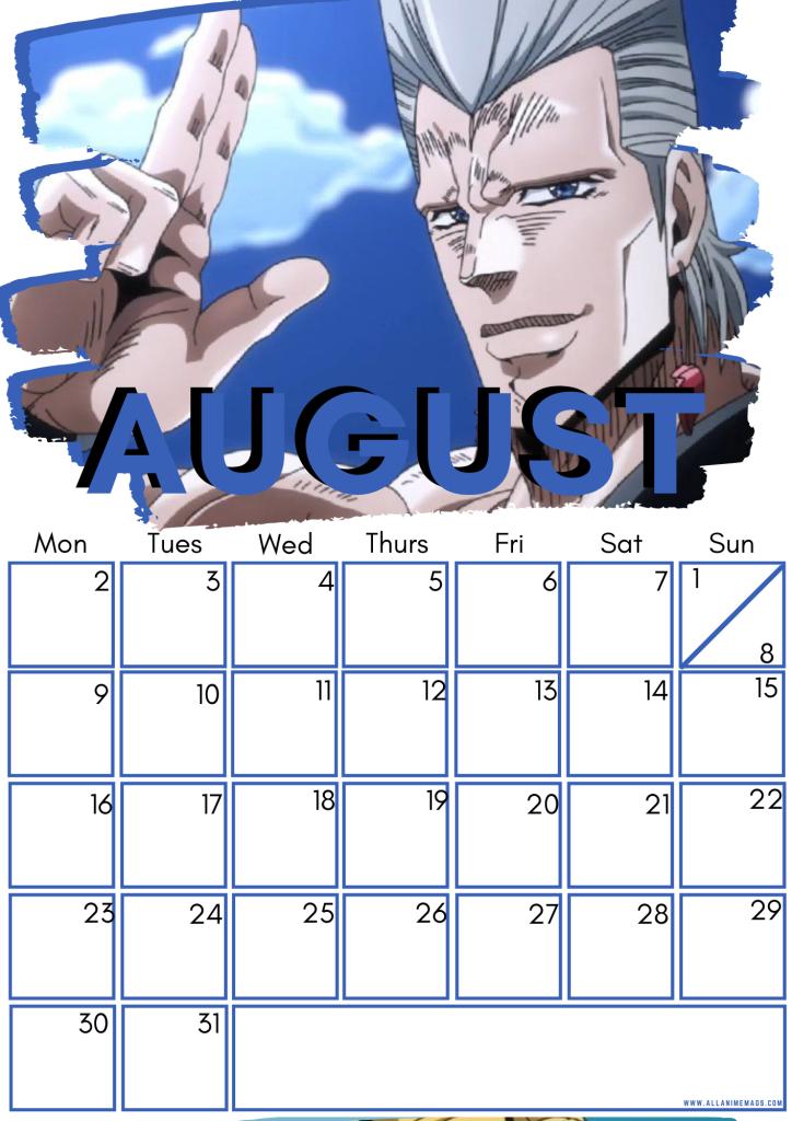 08 August JoJo's Bizarre Adventure Free Downloadable Anime Calendar 2021 AllAnimeMag