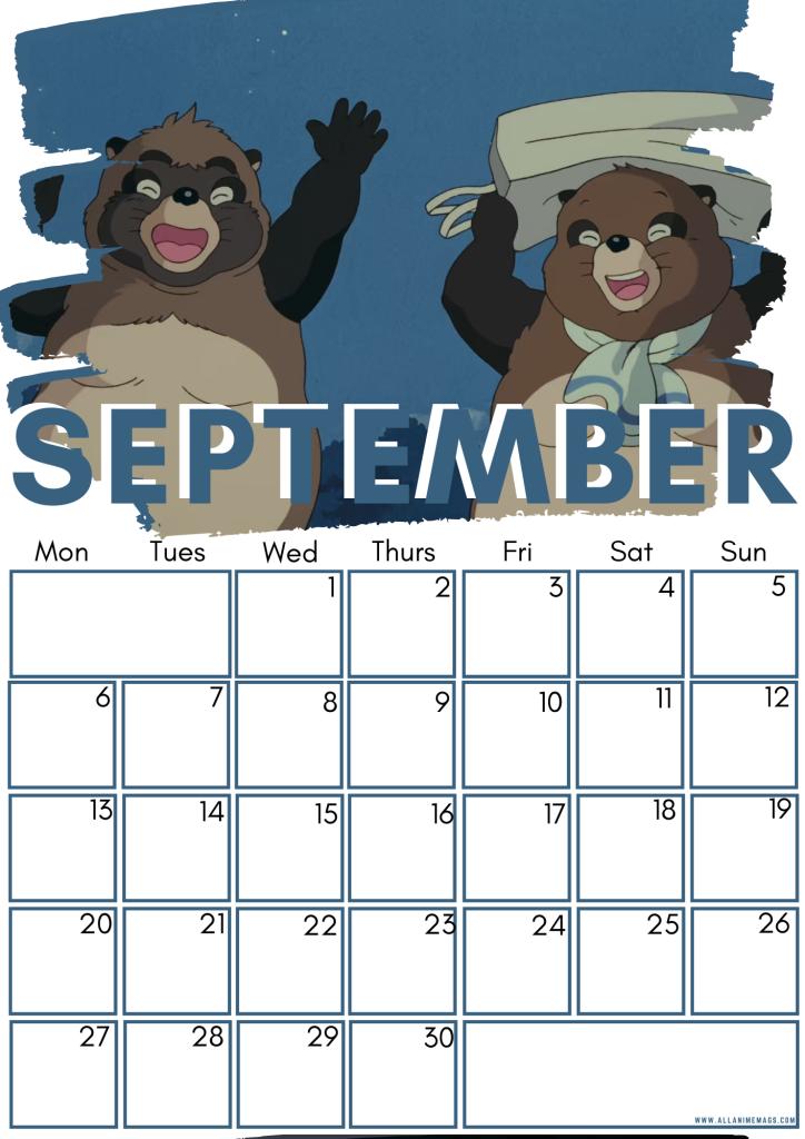 09 September Studio Ghibli Free Downloadable Anime Calendar 2021 AllAnimeMag