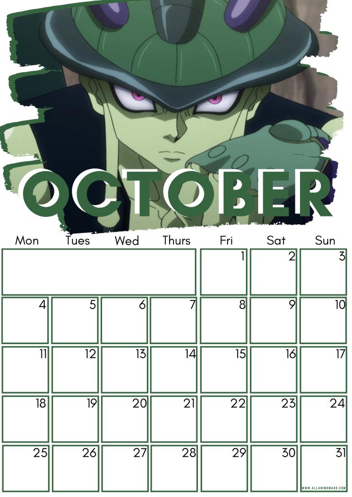 10 October Hunter X Hunter Free Downloadable Anime Calendar 2021 AllAnimeMag