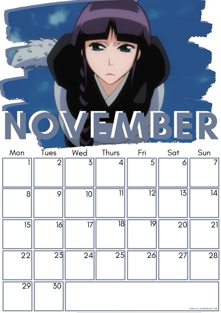 11 November Female Bleach Characters Free Downloadable Anime Calendar 2021 AllAnimeMag