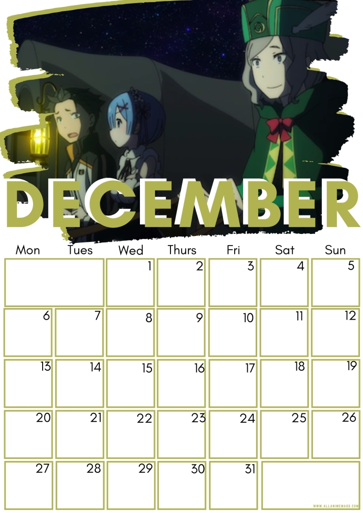 12 December Re_Zero Free Downloadable Anime Calendar 2021 AllAnimeMag