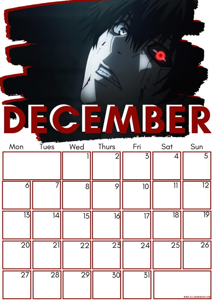 12 December Tokyo Ghoul Free Downloadable Anime Calendar 2021 AllAnimeMag
