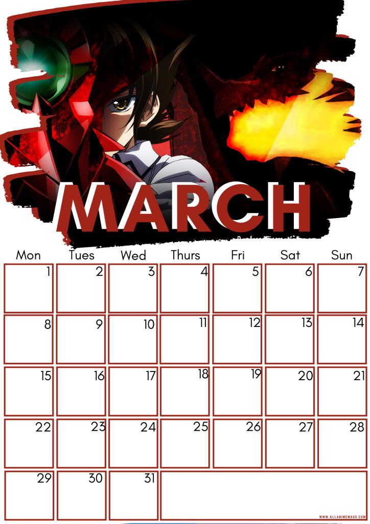 03 High school DxD calendar March 2021