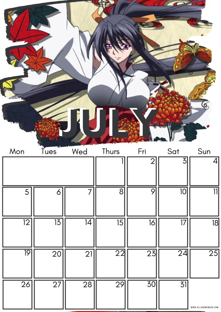 07 High school DxD calendar July 2021