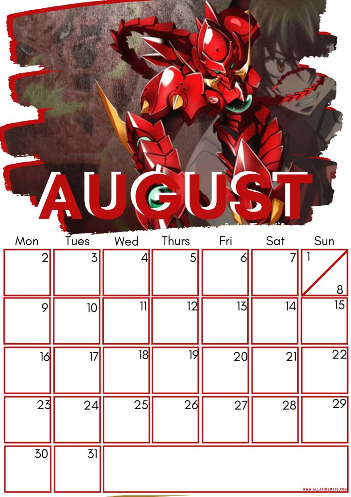 08 High school DxD calendar August 2021