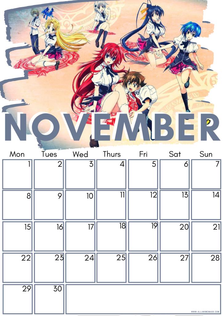 11 High school DxD calendar November 2021
