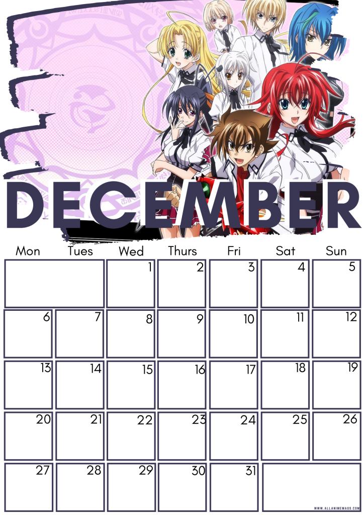 12 High school DxD calendar December 2021